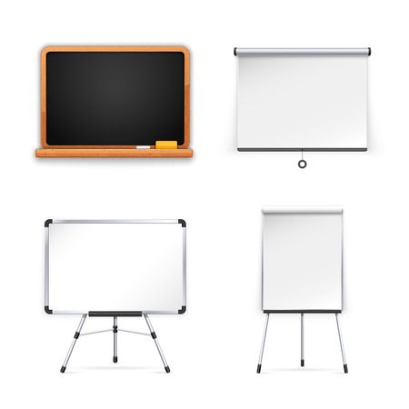 flipchart: Set of Boards for Presentation.  Isolated on white background. Clipping paths included in JPG file.