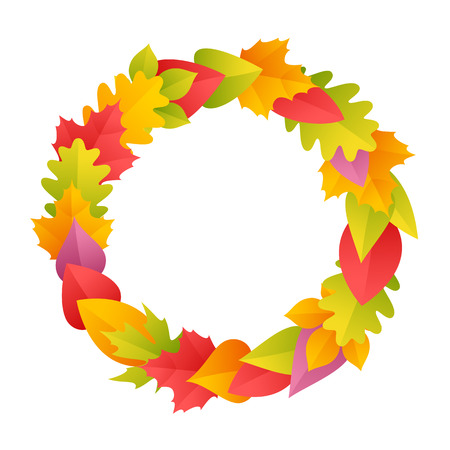 fall leaves border: Colorful Autumn Wreath. Round Frame. Isolated on white background. Clipping paths included in JPG file.