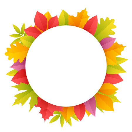paths: Colorful Autumn Leaves Round Frame. Isolated on white background. Clipping paths included in JPG file.