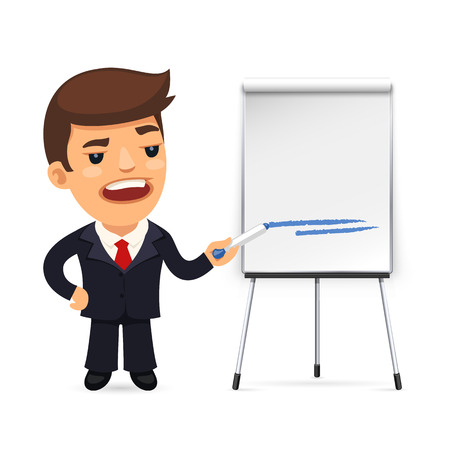 flipchart: Businessman With Marker in Front of the Flipchart. Isolated on white background. Clipping paths included in JPG file. Illustration
