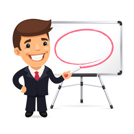 teaching adult: Businessman With Marker in Front of the Whiteboard. Isolated on white background. Clipping paths included in JPG file. Illustration
