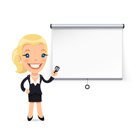 blonde: Businesswoman Gives a Presentation or Seminar. Projector Screen. Isolated on white background. Clipping paths included in JPG file.