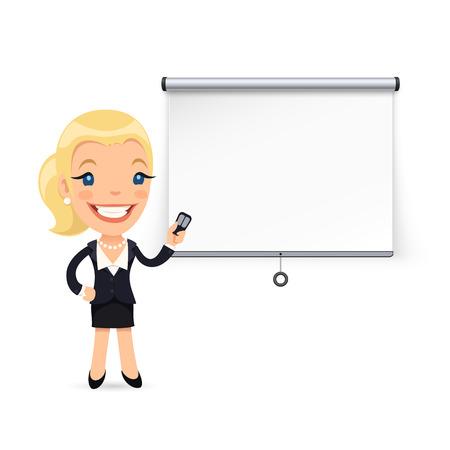 Femme d'affaires donne une présentation ou séminaire. Écran de projection. Isolé sur fond blanc. chemins de détourage inclus dans le fichier JPG.