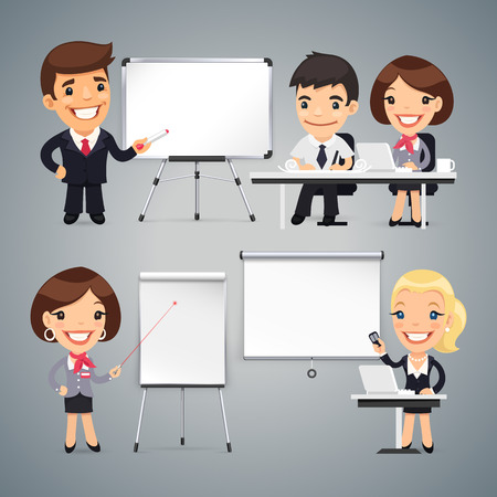 female boss: Peoples Gives a Presentation or Seminar Set. Clipping paths included in JPG file.