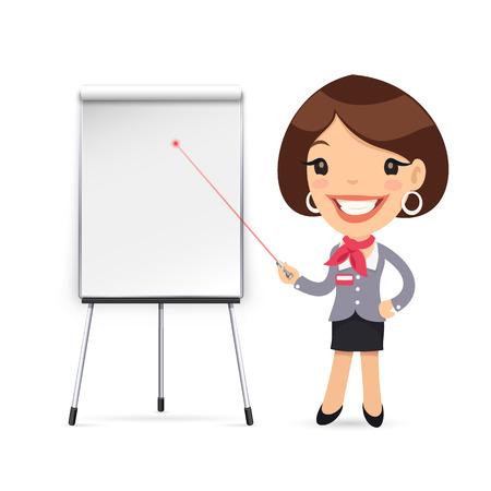 profesor: Mujer Gestor da una presentación o seminario. Aislado en el fondo blanco. Caminos de recortes incluidos en el archivo JPG.
