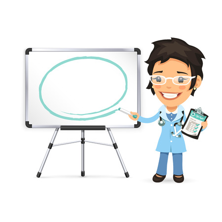 women talking: Female Doctor With Marker in Front of the Whiteboard. Isolated on white background. Clipping paths included in JPG file.