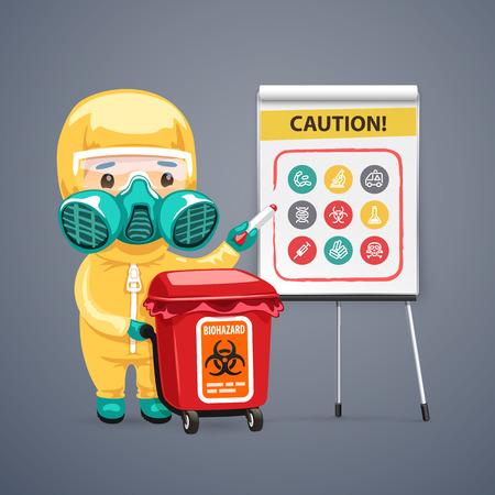 peligro: Precauci�n Biohazard Cartel con Doctor y rotafolios. Caminos de recortes incluidos en el archivo JPG. Vectores