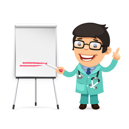flipchart: Doctor With Marker in Front of the Flipchart. Isolated on white background. Clipping paths included in JPG file. Illustration