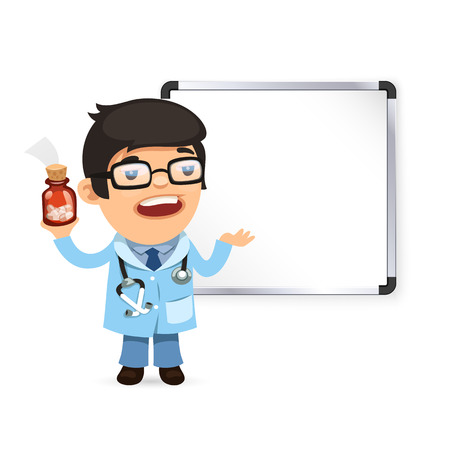 blackboard cartoon: Doctor With Pills in Front of the Whiteboard. Isolated on white background. Clipping paths included in JPG file. Illustration
