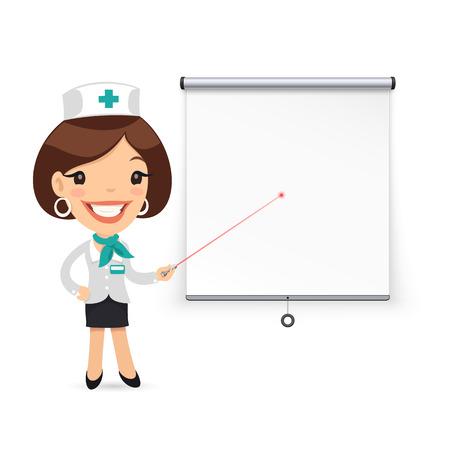 caricatura enfermera: Hombre de negocios con marcador delante del doctor FlipchartLady con puntero láser Presentación de archivo Proyectores ScreenJPG.