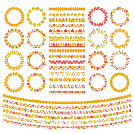 oak wreath: Autumn Leaves Seamless Garlands Set. Used pattern brushes included. Isolated on white background. Clipping paths included in JPG file. Illustration