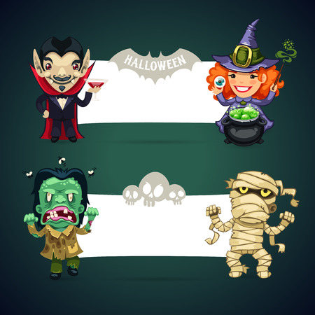 cute wallpaper: Set of Vector Halloween Banners whith Monsters for your Holiday Project. Clipping paths included in JPG file.