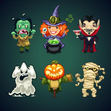demon: Conjunto de Caracteres del vector de la historieta de Halloween para su Proyecto de vacaciones. Caminos de recortes incluidos en el archivo JPG.