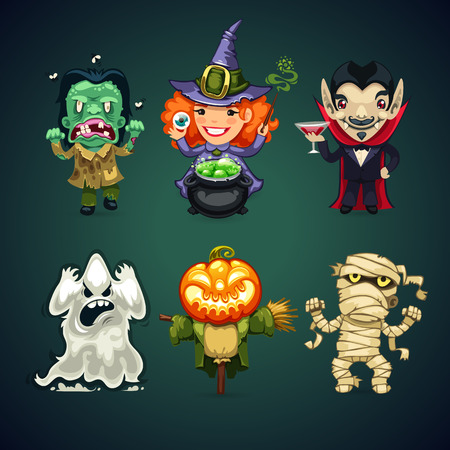 Set of Vector Cartoon Halloween Characters for your Holiday Project. Clipping paths included in JPG file. Vettoriali