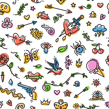 extremal: Colorful Funny Old School Tattoo Seamless Pattern on White Background. Editable pattern in swatches. Clipping paths included in JPG file. Illustration
