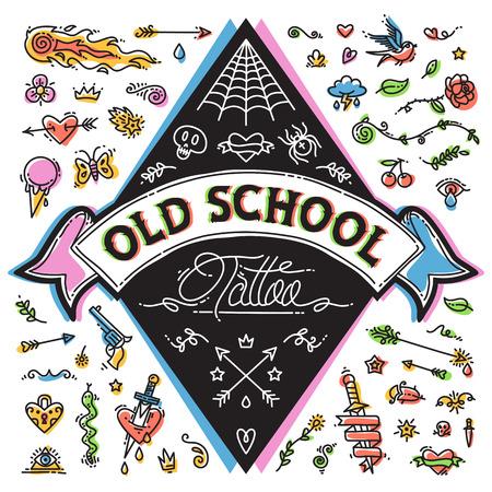flor caricatura: Divertido Viejo tatuaje Escuela determinada. Aislado en el fondo blanco. Caminos de recortes incluidos en el archivo JPG. Vectores