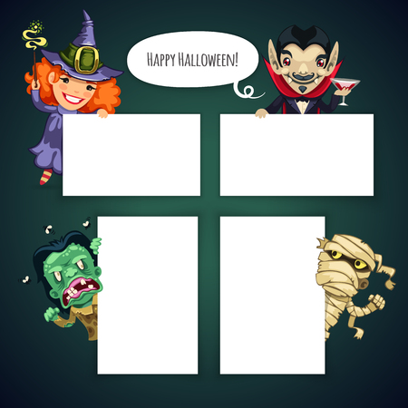 cute wallpaper: Set of Cartoon Halloween Characters Behind a White Empty Sheet. Clipping paths included in JPG file.