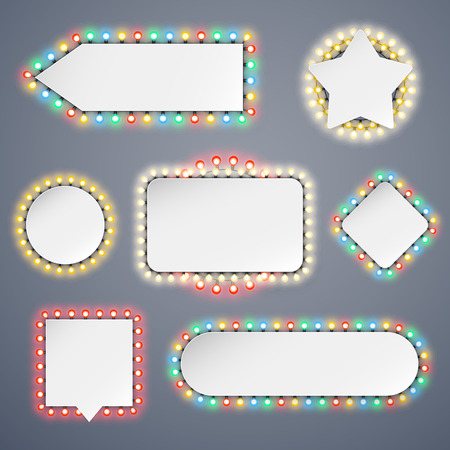 Banners With Electric Bulbs Decoration Set for Celebratory Design. Used pattern brushes included. Иллюстрация