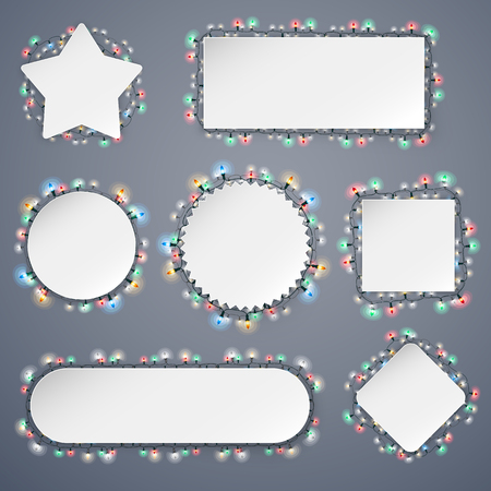 Empty Christmas Banners With Lights Decorations Set for Celebratory Design. Used pattern brushes included.