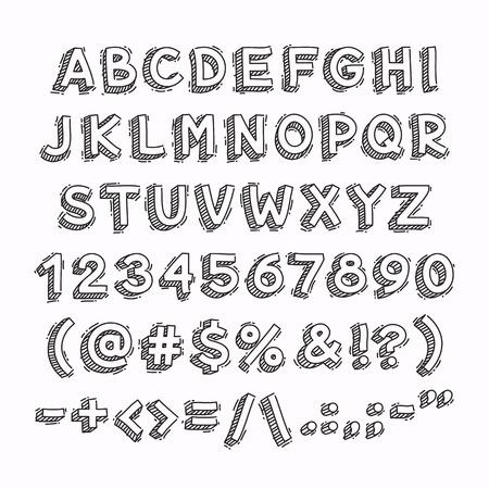 numeros: Dibujados a mano de letras y números en 3D. Aislado en el fondo blanco. máscaras de recorte incluidos en el archivo JPG. Vectores