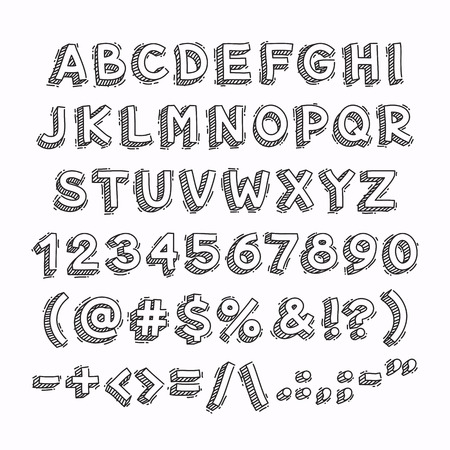 nombres: Hand Drawn 3D Lettres et chiffres. Isolé sur fond blanc. chemins de détourage inclus dans le fichier JPG.