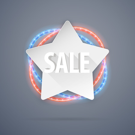 neon lights: Star Sale Banner With Neon Lights Decorations. Used pattern brushes included.