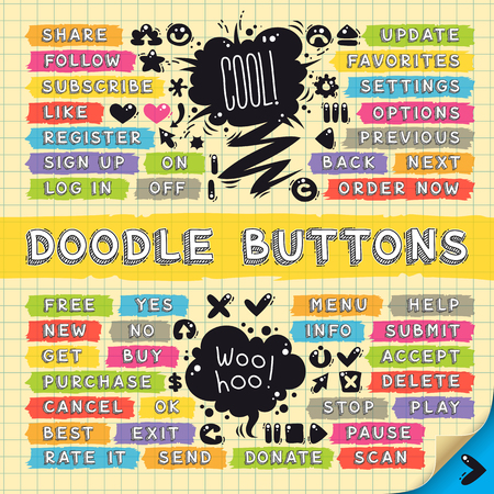 doodle: Hand Drawn Sketchy Doodle Buttons Set for your cool project or games. Clipping paths included in JPG file.
