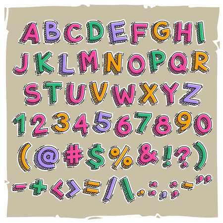 Funny Cartoon Letters and Numbers. JPG file with clipping paths. 일러스트
