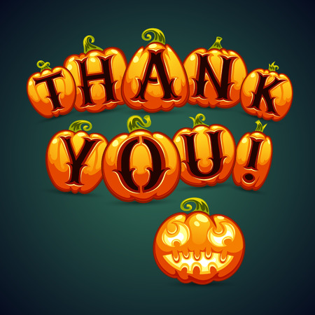 western script: Halloween Pumpkin Says Thank You. Greeting Card. Clipping paths included in jpg format.