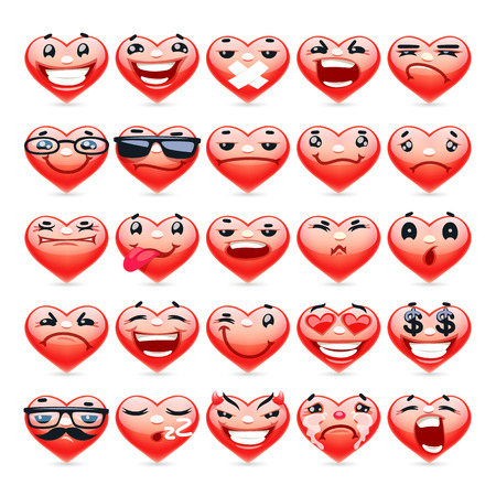 cartoon heart: Valentine Heart Emoticons Collection for Romantic Project. Isolated on white background. Clipping paths included.
