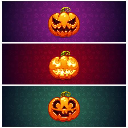 pumpkin: Horizontal Banners de Halloween de fondo con calabaza. Patr�n transparente editable en muestras. Caminos de recortes incluidos en formato jpg. Vectores