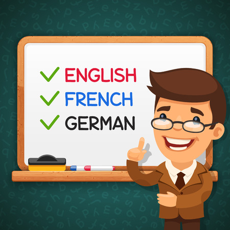 blackboard cartoon: Teacher of Foreign Languages in front of the Whiteboard. Vector banner. Clipping paths included in JPG file. Illustration