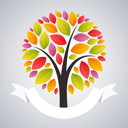 oak trees: Stylized Autumn Tree Logo with Ribbon. Clipping paths included in JPG file.