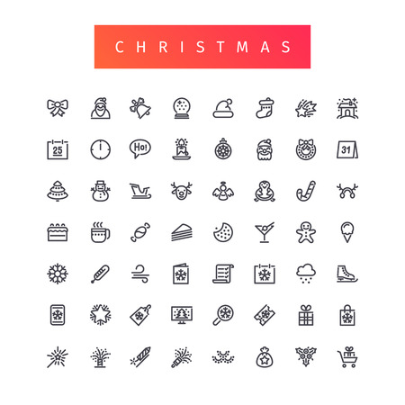 reindeer silhouette: Christmas Outline Icons Set for Your Holiday Project. Isolated on white background. Clipping paths included in JPG file. Illustration