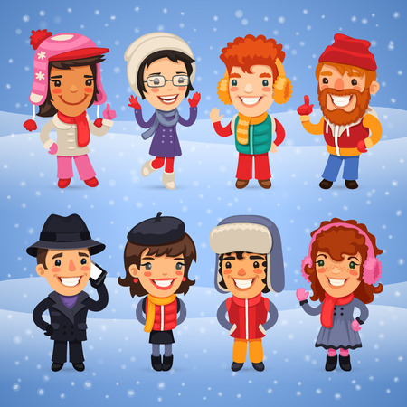 warm clothes: Cartoon Characters in Winter Clothes. Clipping paths included in JPG format.