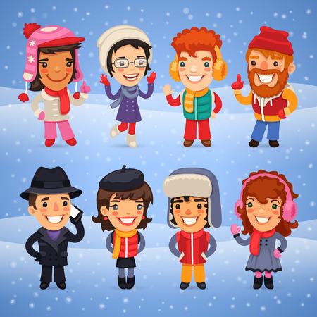 Karakters van het beeldverhaal in winterkleren. Clipping paths opgenomen in JPG-formaat. Stock Illustratie