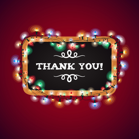 Christmas Lights Thank You Banner. Used pattern brushes included.