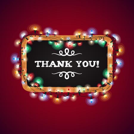 Luces de Navidad Gracias Banner. Cepillos patrón usado incluidos. Foto de archivo - 48243296