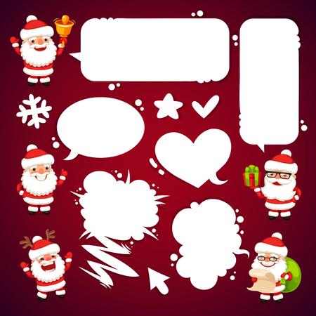 weihnachtsmann lustig: Satz von Cartoon-Weihnachtsm�nner mit einem Sprechblasen. Beschneidungspfade enthalten zus�tzliche jpg-Format.