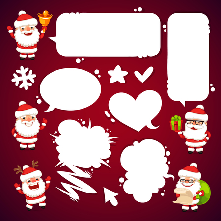 clip art santa claus: Set of Cartoon Santa Clauses with a Speech Bubbles. Clipping paths included in additional jpg format.