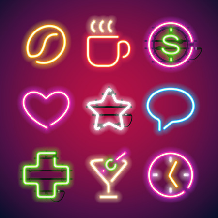 Leuchtende Neon-Zeichen festlegen. Gebrauchte Muster Bürsten enthalten. Es gibt Befestigungselemente in einer Symbolpalette. Vektorgrafik