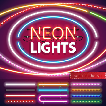 Neon Lights Decoration Set for Your Custom Sign. Used pattern brushes included. There are fastening elements in a symbol palette. Vectores