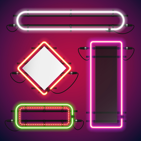 red sign: Neon Lights Rectangle Frames Set for Your Custom Banner. Used pattern brushes included. There are fastening elements in a symbol palette.