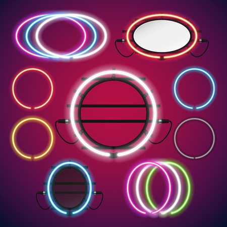 neon background: Neon Lights Round Frames Set for Your Custom Banner. Used pattern brushes included. There are fastening elements in a symbol palette.