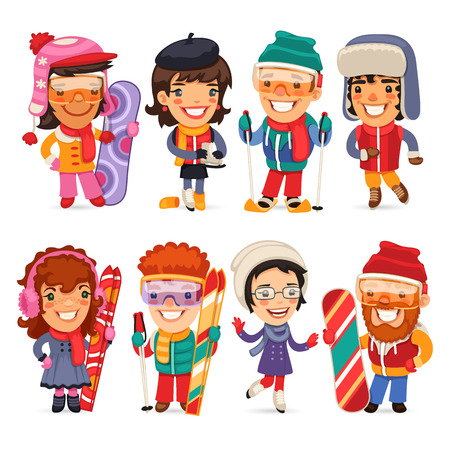 ski wear: Cute cartoon skiers, skaters and snowboarders. Isolated on white background.