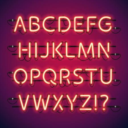 red sign: Glowing Neon Bar Alphabet. Used pattern brushes included. There are fastening elements in a symbol palette. Illustration