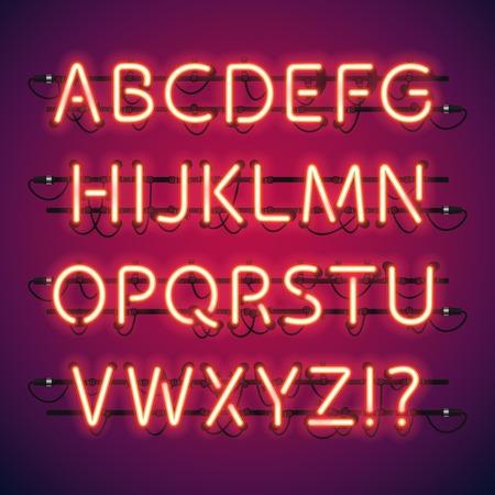 night club: Glowing Neon barra alfabetica. spazzole motivo utilizzato inclusi. Ci sono elementi di fissaggio in una tavolozza simbolo. Vettoriali