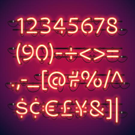 Glowing Neon Numéros de Bar. brosses à motif occasion inclus. Il existe des éléments de fixation dans une palette de symboles. Banque d'images - 49137613