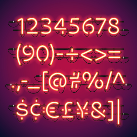 electricidad: Números resplandeciente neón de la barra. pinceles de motivo utilizadas incluyeron. Hay elementos de fijación en una paleta de símbolos.