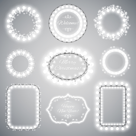 event party festive: White Christmas Illumination Frames with a Copy Space for Celebratory Design. Used pattern brushes included.